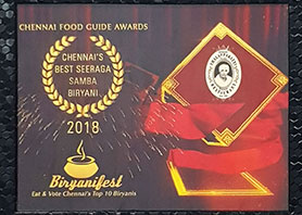 Best Seeraga Samba Biriyani by cfg Awards